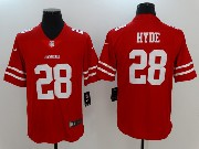 Mens San Francisco 49ers #28 Carlos Hyde Red Vapor Untouchable Limited Jersey