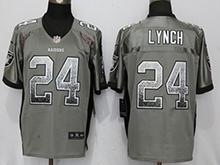 Mens Nfl Oakland Raiders #24 Marshawn Lynch Gray Drift Fashion Elite Jersey