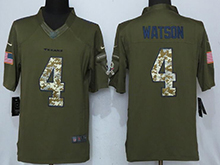 Mens Houston Texans #4 Deshaun Watson Green Salute To Service Limited Jersey