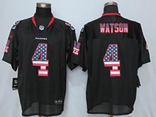 Mens Houston Texans #4 Deshaun Watson Black Usa Flag Fashion Elite Jersey