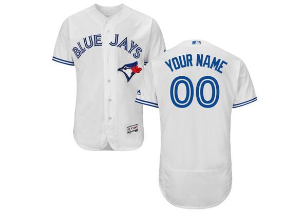 Mens Majestic Toronto Blue Jays Custom Made White Flex Base Jersey