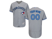 Mens Majestic Toronto Blue Jays Custom Made Grey Flex Base Jersey
