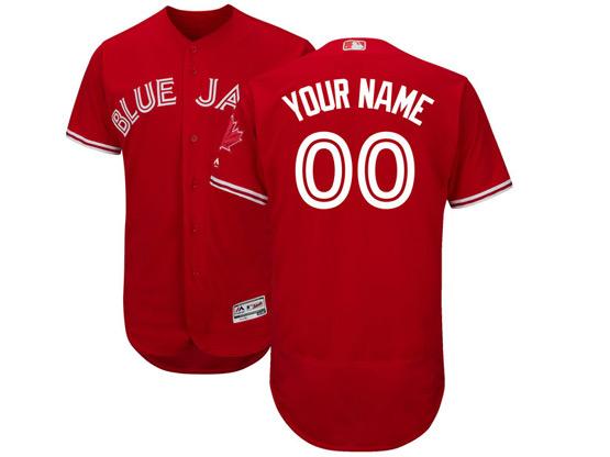 Mens Majestic Toronto Blue Jays Custom Made Red Flex Base Jersey