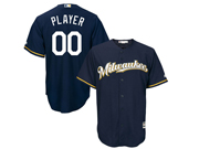 Mens Women Youth Mlb Milwaukee Brewers Custom Made Blue Cool Base Jersey