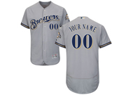 Mens Majestic Milwaukee Brewers Custom Made Grey Road Flex Base Jersey