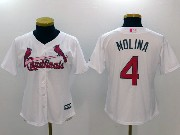Women Mlb St. Louis Cardinals #4 Yadier Molina White Cool Base Jersey