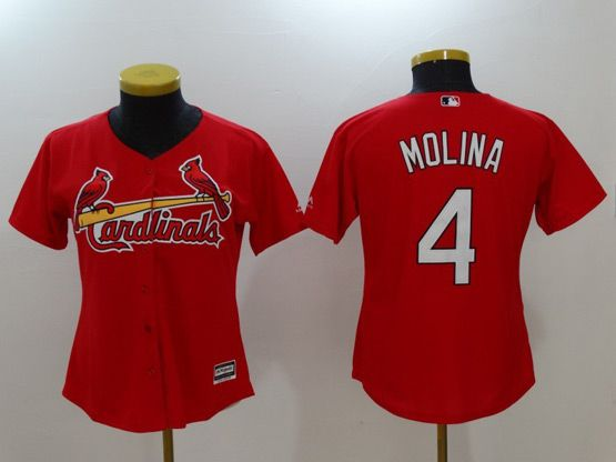 Women Mlb St. Louis Cardinals #4 Yadier Molina Red Cool Base Jersey