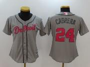 Women Mlb Detroit Tigers #24 Miguel Cabrera Grey Cool Base Jersey
