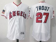 Mens Majestic Los Angeles Angels #27 Mike Trout White 2017 Stars And Stripes Flex Base Jersey