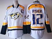 Mens Reebok Nhl Nashville Predators #12 Mike Fisher White Jersey