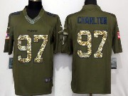 Mens Dallas Cowboys #97 Taco Charlton Green Salute To Service Limited Jersey