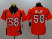 Women Nfl Denver Broncos #58 Von Miller Orange Vapor Untouchable Limited Jersey