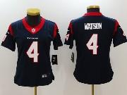 Women Nfl Houston Texans #4 Deshaun Watson Blue Vapor Untouchable Limited Jersey