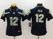 Women Nfl Seattle Seahawks #12 Fan Green Blue Vapor Untouchable Limited Jersey