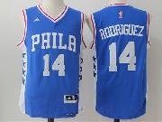 Mens Nba Philadelphia 76ers #14 Sergio Rodriguez Road Blue Jersey
