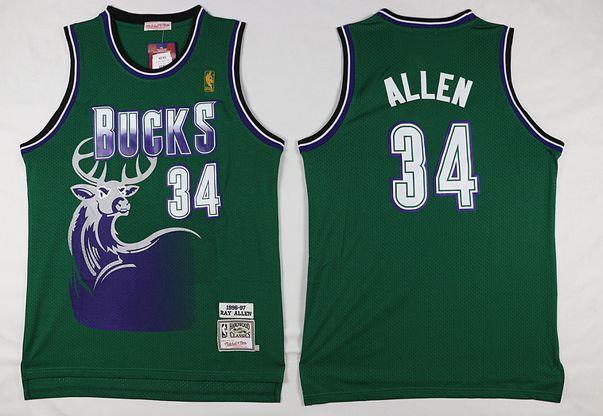 Mens Nba Milwaukee Bucks #34 Ray Allen Green Hardwood Classic Swingman Jersey