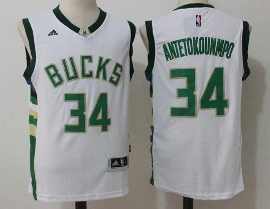 Mens Nba Milwaukee Bucks #34 Giannis Antetokounmpo White Jersey
