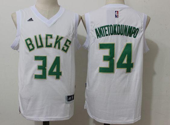Mens Nba Milwaukee Bucks #34 Giannis Antetokounmpo White Fashion Jersey