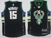 Mens Nba Milwaukee Bucks #15 Greg Monroe Black Fashion Jersey