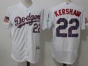 Mens Mlb Los Angeles Dodgers #22 Clayton Kershaw White Stars & Stripes Flex Base Jersey