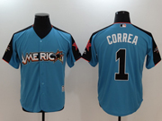 Mens Mlb Houston Astros #1 Carlos Correa 2017 Mlb All Star Game American Light Blue Cool Bass Jersey