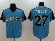 Mens Mlb Los Angeles Angels #27 Mike Trout 2017 Mlb All Star Game American Light Blue Cool Bass Jersey