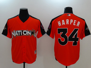 Mens Mlb Montreal Expos #34 Bryce Harper 2017 Mlb All Star Game National Orange Cool Bass Jersey