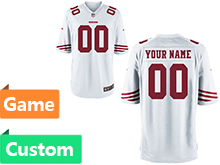 Mens Women Youth Nfl San Francisco 49ers (custom Made) White Game Jersey