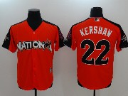Mens Mlb Los Angeles Dodgers #22 Clayton Kershaw 2017 Mlb All Star Game National Orange Cool Bass Jersey