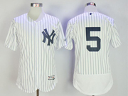 Mens Mlb New York Yankees #5joe Dimaggio (no Name) White Stripe Flex Base Jersey