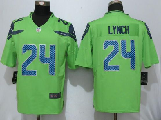 Mens Nfl Seattle Seahawks #24 Marshawn Lynch Green Game Jersey