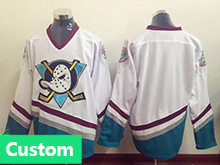 Mens Ccm Nhl Anaheim Mighty Ducks Custom Made White Throwbacks Jersey