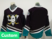 Mens Ccm Nhl Anaheim Mighty Ducks Custom Made Black Throwbacks Jersey