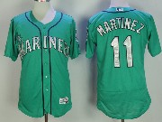 Mens Majestic Seattle Mariners #11 Edgar Martinez Green Flex Base Jersey
