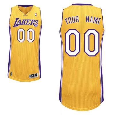 Nba Los Angeles Lakers (custom Made) Gold Swingman Mesh Jersey