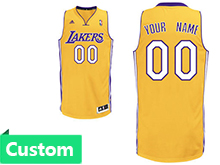 Mens Womens Youth Nba Los Angeles Lakers (custom Made) Gold Cotton Jersey