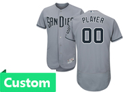 Mens Majestic Mlb San Diego Padres Custom Made Grey Flex Base Jersey