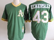 Mens Mlb Oakland Athletics #43 Dennis Eckersley Green Mitchell&ness Pullover Throwbacks Jersey