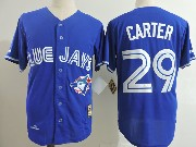 Mens Mitchell&ness Mlb Toronto Blue Jays #29 Joe Carter Blue Throwback Jersey