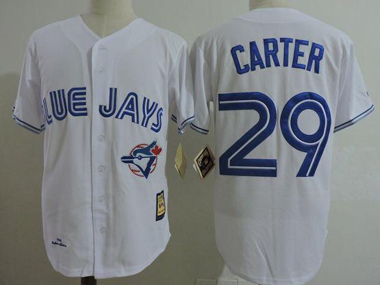 Mens Mitchell&ness Mlb Toronto Blue Jays #29 Joe Carter White Throwbacks Jersey