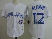 Mens Mitchell&ness Mlb Toronto Blue Jays #12 Roberto Alomar White Throwbacks Jersey