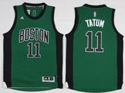 Mens Nba Boston Celtics #11 Jayson Tatum Green Black Number Jersey