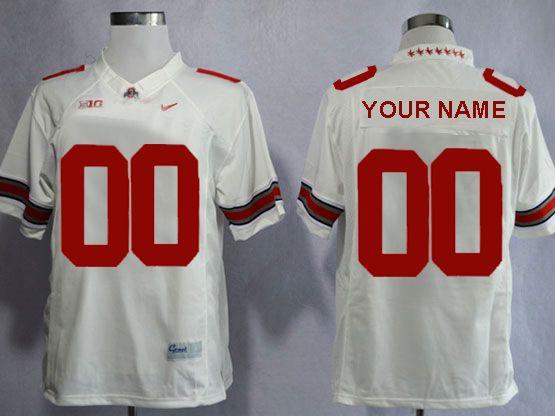 Mens Women Youth Ncaa Nfl Ohio State Buckeyes Custom Made White Limited Star Back Jersey