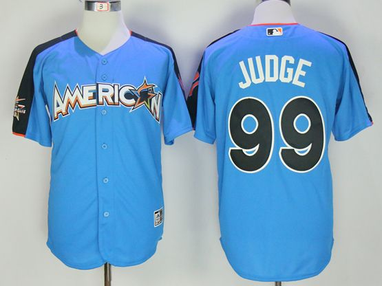 Mens New York Yankees #99 Aaron Judge 2017 Mlb All Star Game American Light Blue Cool Bass Jersey