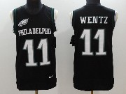 Mens Nfl Philadelphia Eagles #11 Carson Wentz Black Color Rush Tank Top Jersey