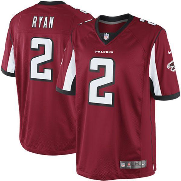 Mens New Nike Atlanta Falcons #2 Matt Ryan Jones Red Limited Jersey