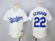 Youth Majestic Mlb Los Angeles Dodgers #22 Kershaw White Jersey