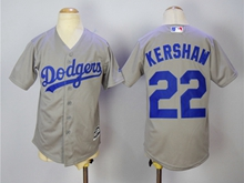 Youth Majestic Mlb Los Angeles Dodgers #22 Kershaw Grey Jersey