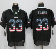 Mens Nfl New York Jets #33 Jamal Adams Black Usa Flag Fashion Elite Jerseys