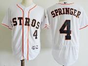 Mens Majestic Houston Astros #4 George Springer White Flex Base Jersey